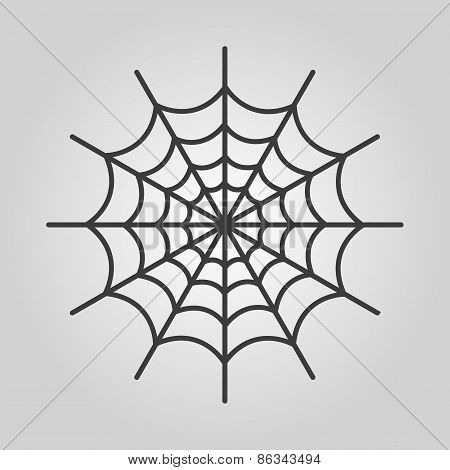 The Spiderweb Icon. Web Symbol. Flat