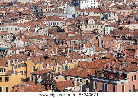 Venice, Italy, Red-tile Roofs And Many Houses