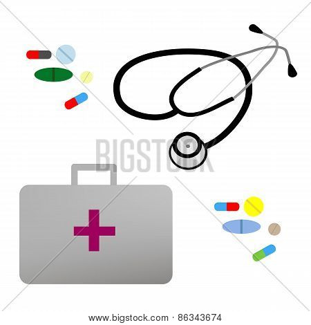 Illustration flat stethoscope, first aid kit and medications