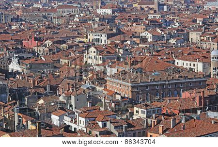Houses With Red-tile Roofs And Bricks In Southern Europe