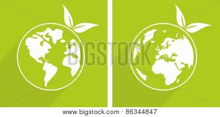Eco recycling vector icon or earth day sticker with green sprouts