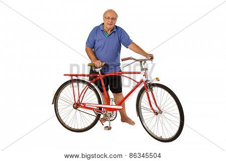 Brazilian senior riding an antique bike isolated on white background