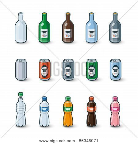 Plastic Glass Bottles Aluminium Cans Illustration