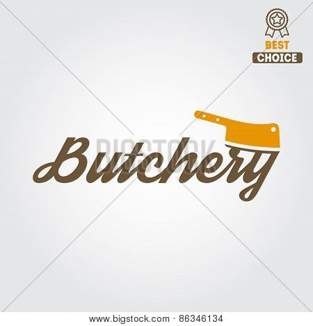 Vintage label, badge, emblem templates and logo of butchery or meat shop