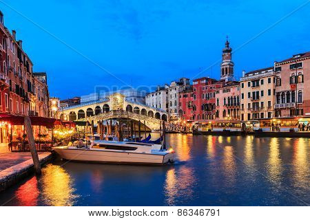 Grand Canal At Twilight, Venice Italy