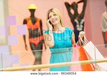 Woman In Shopping Mall.