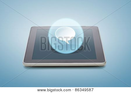 electronics, technology and communication concept - tablet pc computer with bank text bubble icon over screen and blue background