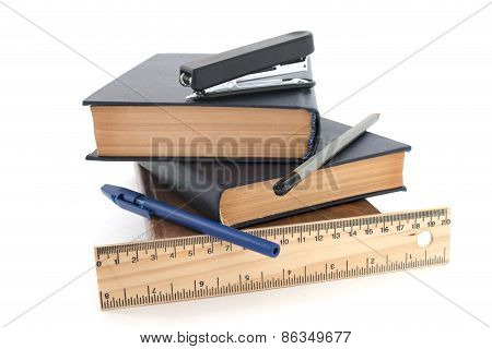 Books And Pen Isolated Over White