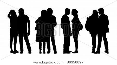 People Standing Outdoor Silhouettes Set 31