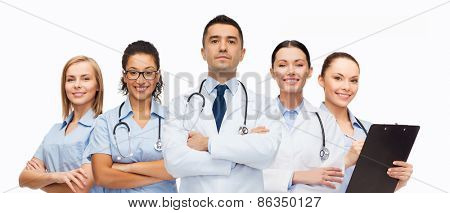 healthcare, profession, people and medicine concept - group of medics with stethoscopes