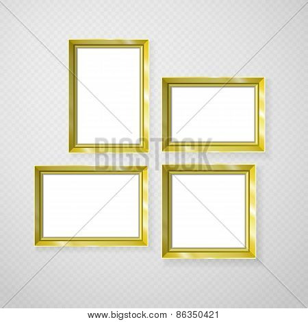 Hanging Paper Sign Frame Gold Picture Vector Shadow