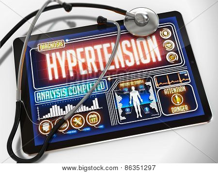 Hypertension on the Display of Medical Tablet.