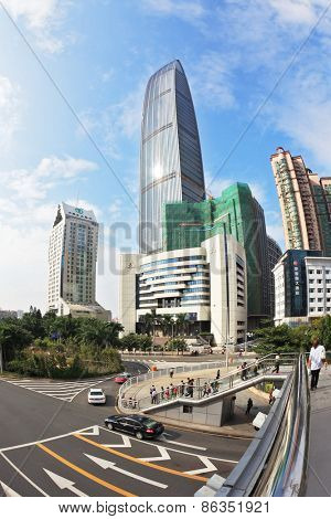 SHENZHEN -  CITY IN SOUTH OF  PEOPLE'S REPUBLIC OF CHINA - NOVEMBER 19, 2011: The magnificent modern city with wide prospectuses and skyscrapers. On streets cars and buses go