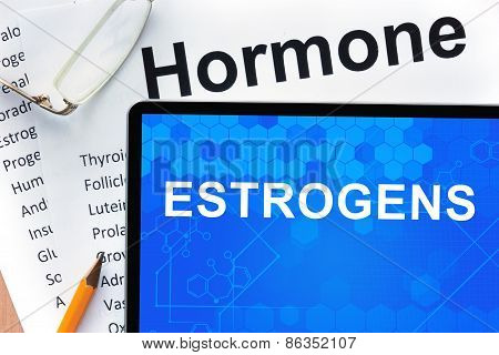 Papers with hormones list and tablet  with word estrogens.