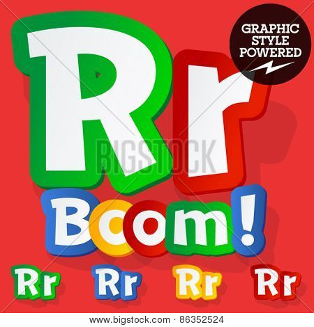 Vector set of bright colorful alphabet for children. Playful sticker font. Letter R