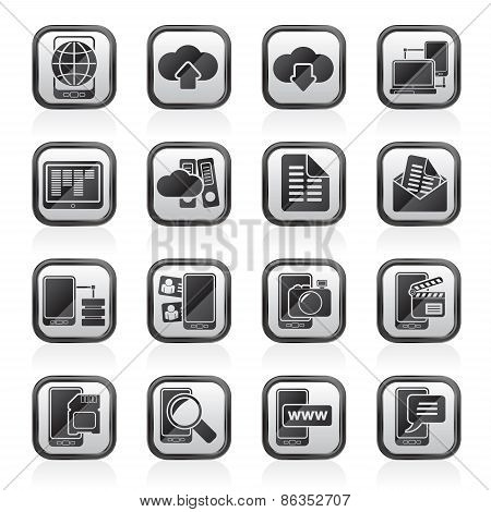 Connection, communication and mobile phone icons