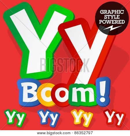 Vector set of bright colorful alphabet for children. Playful sticker font. Letter Y