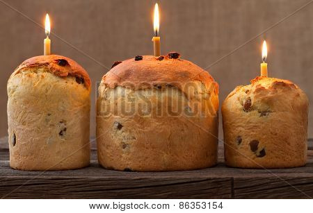 Baked Traditional Religious Easter Holiday Sweet Cake Also Called Kulich With Raisins And Burning Ca