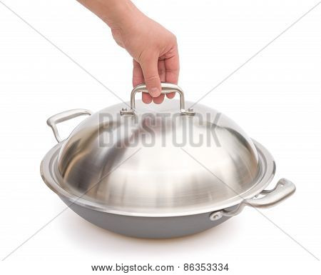 Hand About To Lift Up A Lid Of Wok With Clipping Path