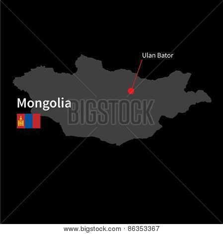 Detailed map of Mongolia and capital city Ulan Bator with flag on black background