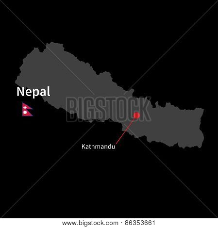 Detailed map of Nepal and capital city Kathmandu with flag on black background