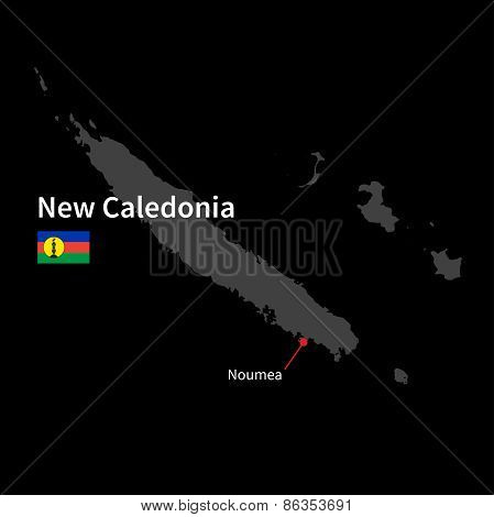 Detailed map of New Caledonia and capital city Noumea with flag on black background