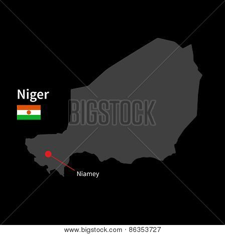 Detailed map of Niger and capital city Niamey with flag on black background