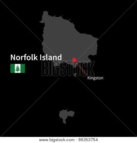 Detailed map of Norfolk Island and capital city Kingston with flag on black background