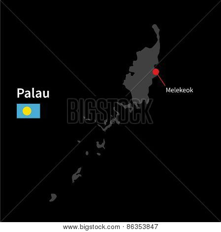 Detailed map of Palau and capital city Melekeok with flag on black background