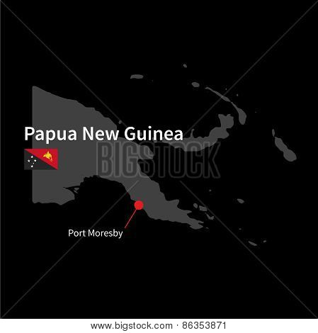 Detailed map of Papua New Guinea and capital city Port Moresby with flag on black background