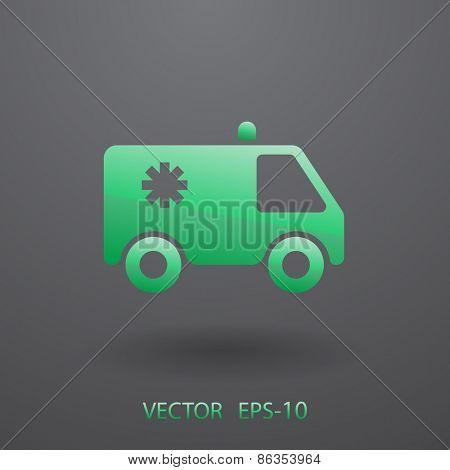 Flat  icon of ambulance