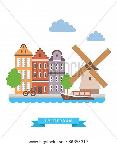 Amsterdam flat background vector