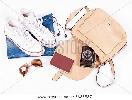 Objects for travel on white background