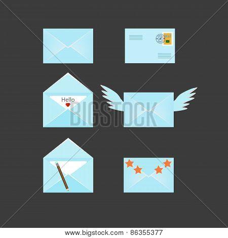 Set of six envelopes icons
