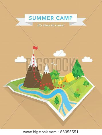 Tourism concept polygonal vector map