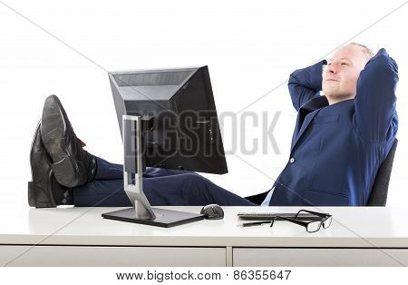Relaxed Businessman At His Office