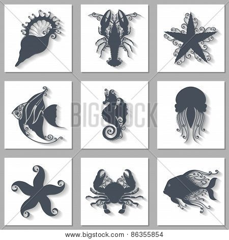 Vector Set of Ornate Sea Animals Icons with Long Shadow