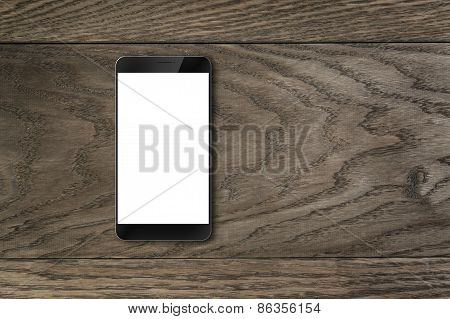 generic modern smartphone on wood table