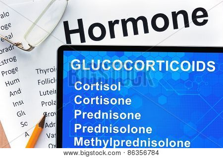 Papers with hormones list and tablet  with words glucocorticoids.