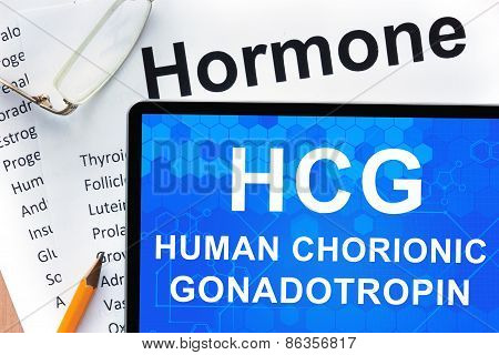 Papers with hormones list and tablet  with words Human chorionic gonadotropin (HCG) .