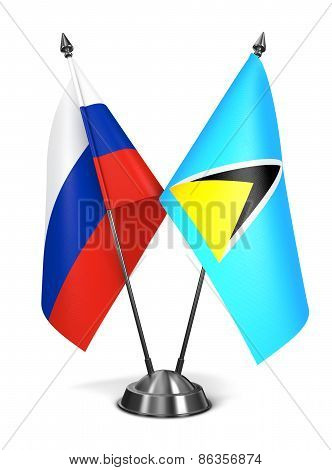 Russia and Saint Lucia - Miniature Flags.