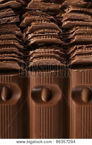 Chopped chocolate, closeup
