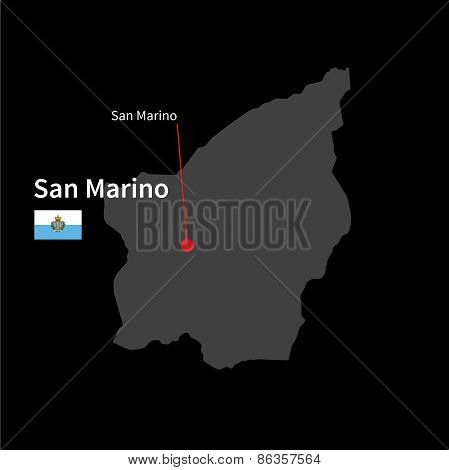 Detailed map of San Marino and capital city San Marino with flag on black background