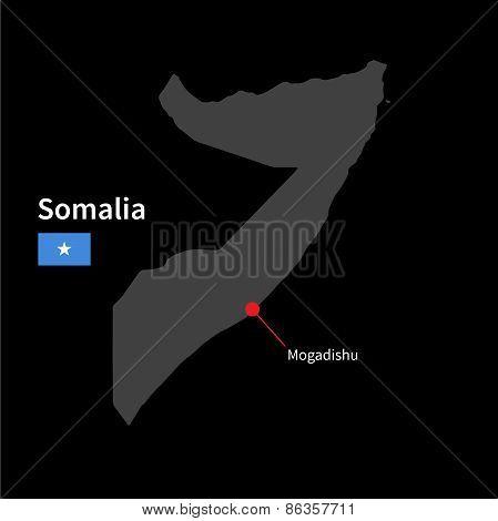 Detailed map of Somalia and capital city Mogadishu with flag on black background