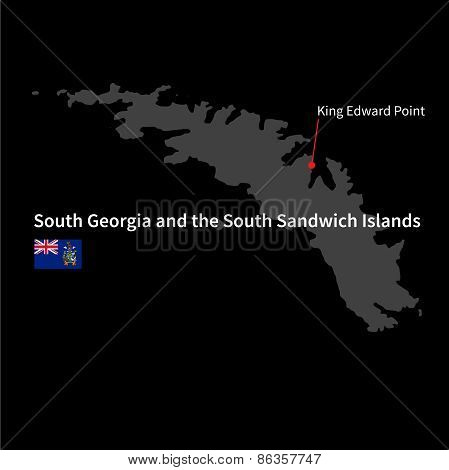 Detailed map of South Georgia and the South Sandwich Islands and capital city King Edward Point with