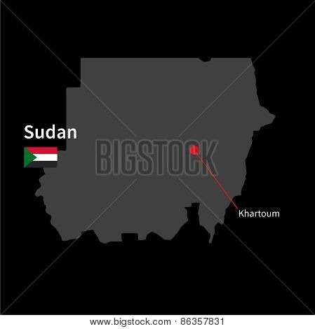 Detailed map of Sudan and capital city Khartoum with flag on black background