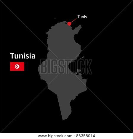 Detailed map of Tunisia and capital city Tunis with flag on black background