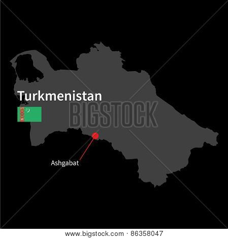 Detailed map of Turkmenistan and capital city Ashgabat with flag on black background
