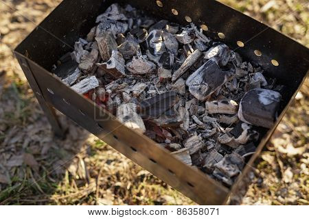 charcoal preparation for bbq in mangal