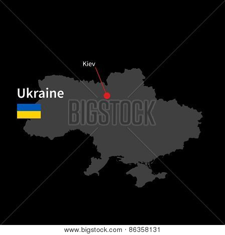 Detailed map of Ukraine and capital city Kiev with flag on black background